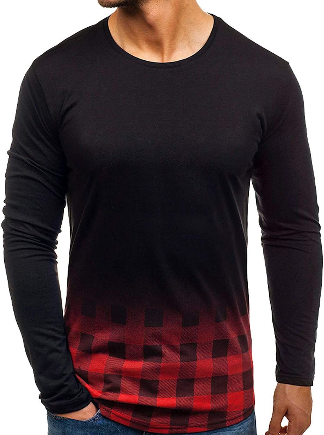 Mens Long-Sleeve Shirt Loose Camouflage Color Block Tops O Neck Casual Jumper Soft Lounge Tops