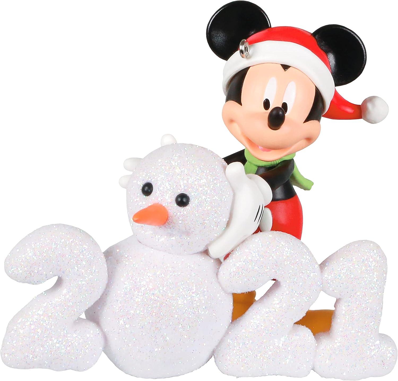 Hallmark Keepsake Christmas Ornament, Year Dated 2021, Disney Mickey Mouse A Year of Disney Magic Snowman