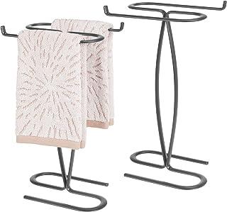 mDesign Metal Hand Towel Holder Stand for Bathroom Vanity Countertop, Metal, Graphite Gray, Pack of 2