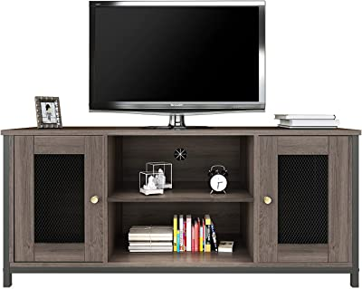 AWQM TV Stand for TV up to 50 Inch, TV Cabinet with Open Storage, TV Console Unit with Shelving, for Living Room, Entertainment Room, Charcoal