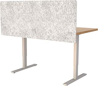 """VaRoom Acoustic Partition, Sound Absorbing Desk Divider – 60"""" W x 24""""H Privacy Desk Mounted Cubicle Panel, Iced Grey"""