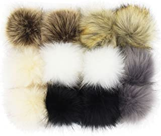 SUSULU DIY 12pcs Faux Fox Fur Fluffy Pompom Ball for Hats Shoes Scarves Bag Charms (Popular Mix Colors)