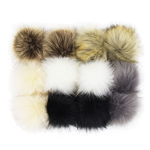 SUSULU DIY 12pcs Faux Fox Fur Fluffy Pompom Ball for Hats Shoes Scarves Bag  Charms ( 0a23b5b7aa13