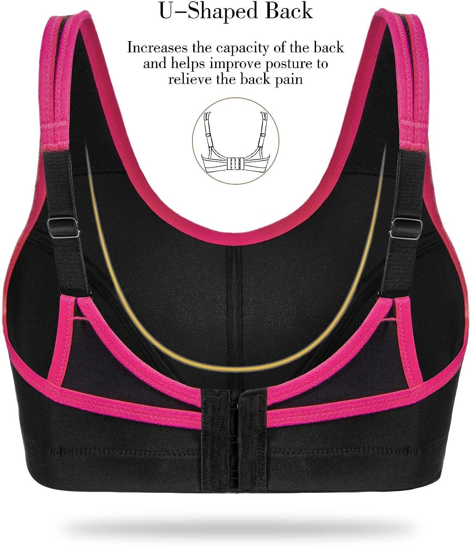 Wingslove Women's Full Figure Sports Bra Bounce Control Wirefree Bra Plus Size Workout Bra