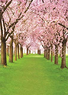 AOFOTO 5x7ft Spring Pink Flowers Road Backdrop for Photos Cherry Tree Sakura Floral Blossom Garden Path Background Park Natural Scenery Grassland Pathway Photo Studio Props Adult Girl Portrait Vinyl