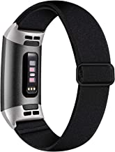 Witzon Adjustable Elastic Bands Compatible with Fitbit Charge 4 / Charge 3 / 3SE Bands, Breathable Loop Fabric Pattern Rep...