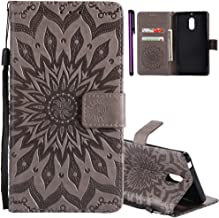 ISADENSER for Nokia 6 Case Nokia 6 Wallet Case for Women Sunflower Series as Gift With Shockproof and Kickstand Card Slots Holder Flip Magnetic Closure Protection for Nokia 6 (2017) Gray Sunflower
