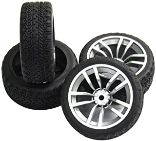 ShareGoo 12mm Hex Wheel Rims & Rubber Tires for 1/10 RC On-Road Touring Flat Racing Car (Pack of 4)