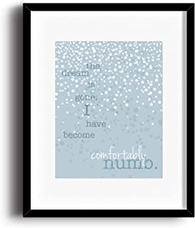 Comfortably Numb by Pink Floyd - Song Lyric Inspired Poster - Music Quote Wall Art Print