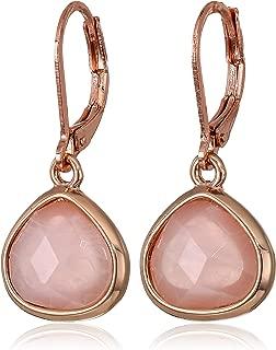 Anne Klein Women's Rose Gold/Blush Stone Drop Earrings