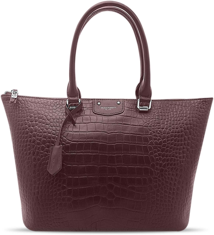 Giorgio Ferretti Comfortable Max 82% OFF Leather Bag Genuine Tote To Ranking integrated 1st place