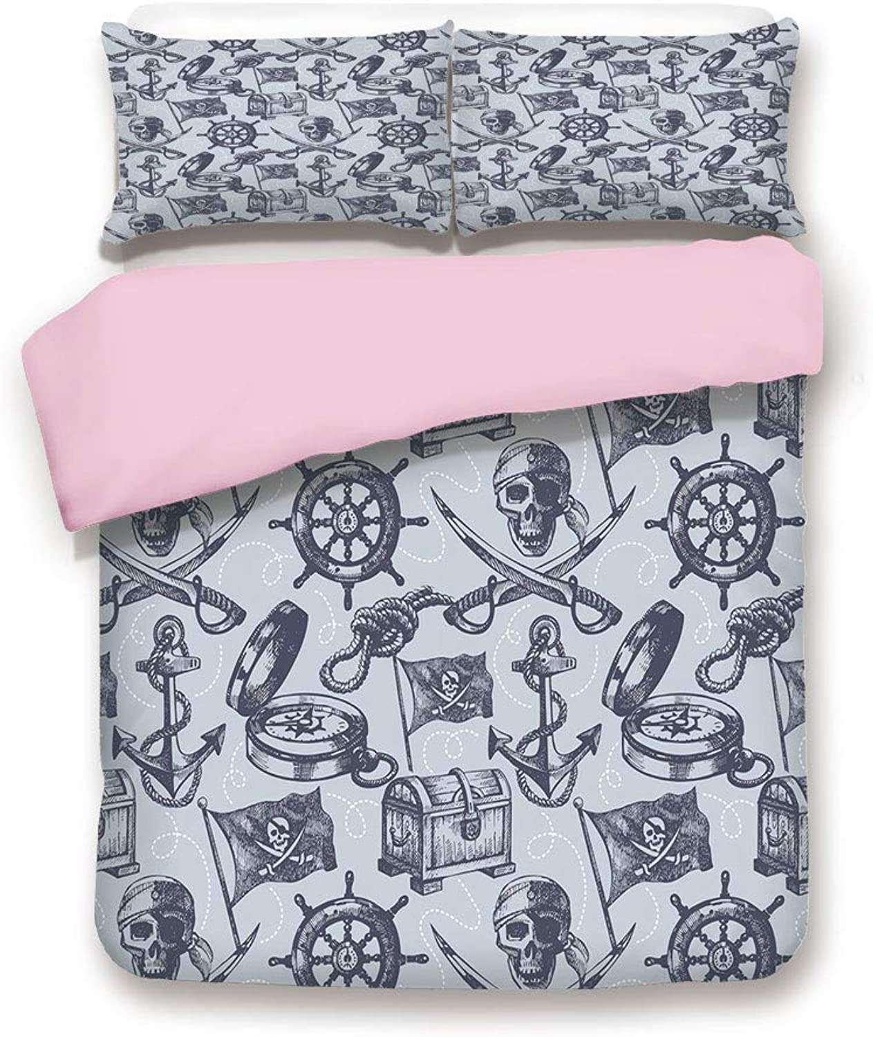 Pink Duvet Cover Set,Queen Size,Nautical Symbols Anchor Steering Wheel Pirate Skull Crossed Swords Pattern Decorative,Decorative 3 Piece Bedding Set with 2 Pillow Sham,Best Gift For Girls Women,Grey B