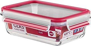 Emsa 0.7 Litre Clip & Close Rectangular Fresh Holding Box, Transparent/Red, 35 x 25 x 10 cm