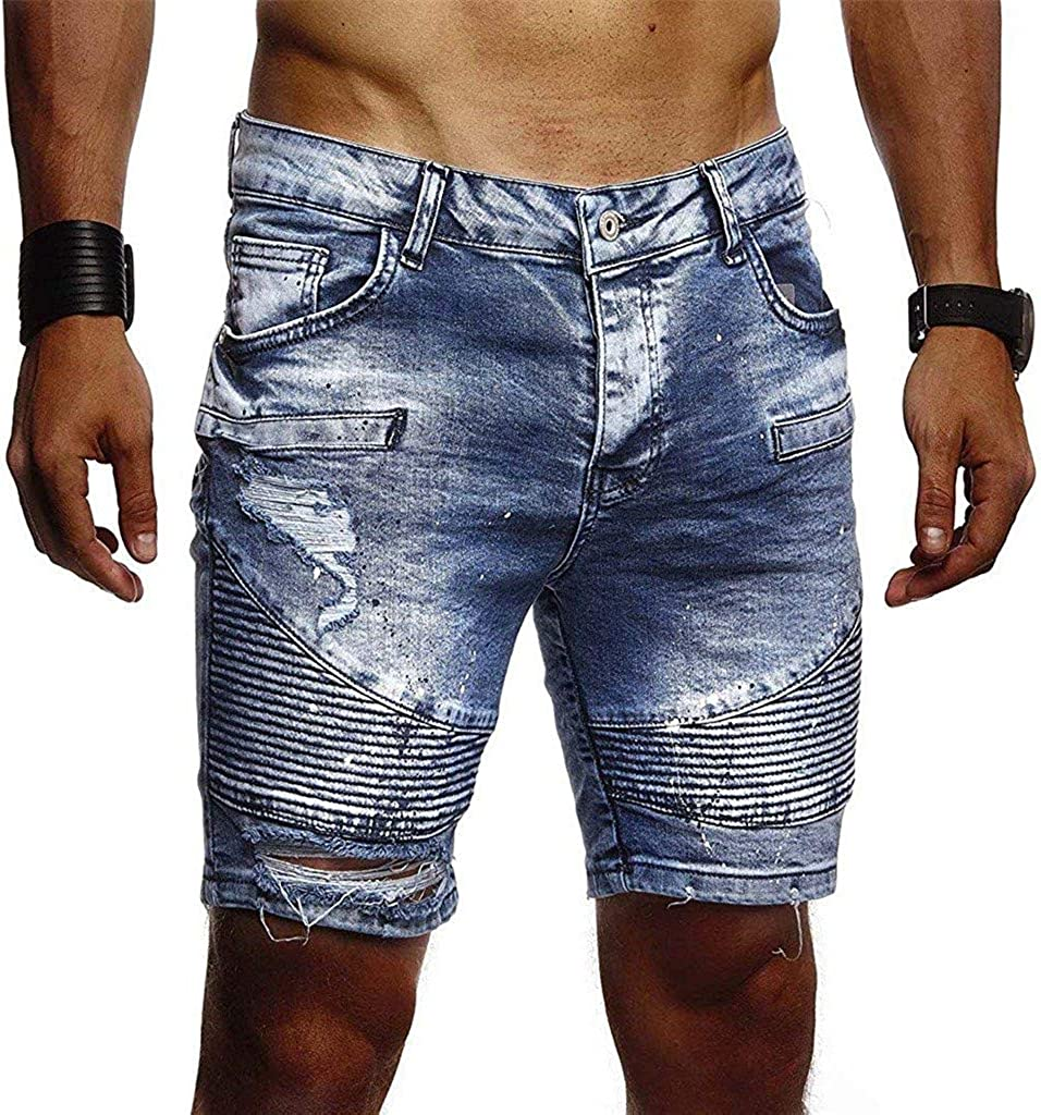 Forthery Men's Denim Shorts Casual Zipper Crumple Fit Straight Vintage Style Jeans Pants