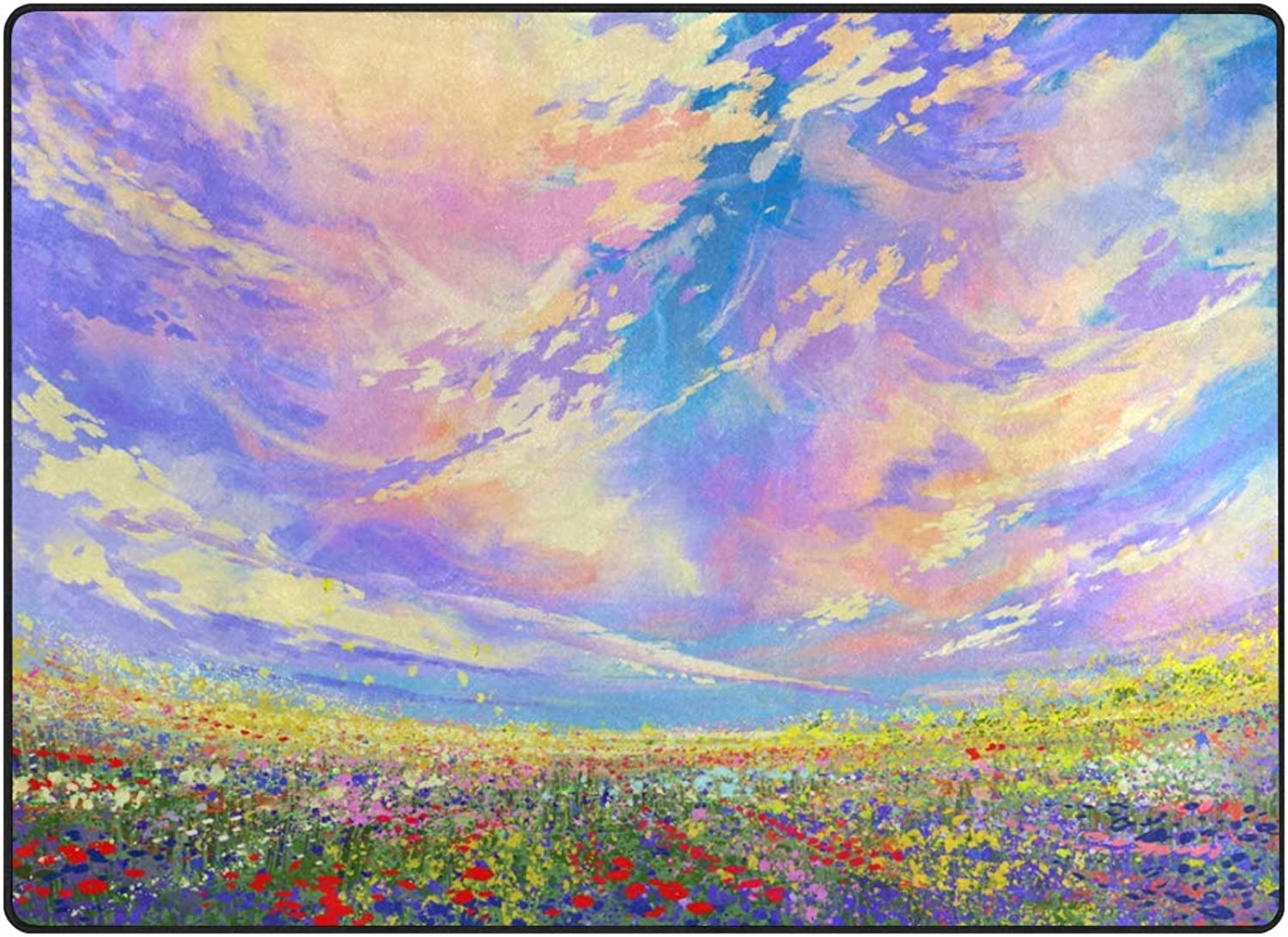 Vantaso Soft Foam Nursery Rugs colorful Sky Flowers in Field Non Slip Play Mats for Kids Boys Girls Playing Room Living Room 63x48 inch