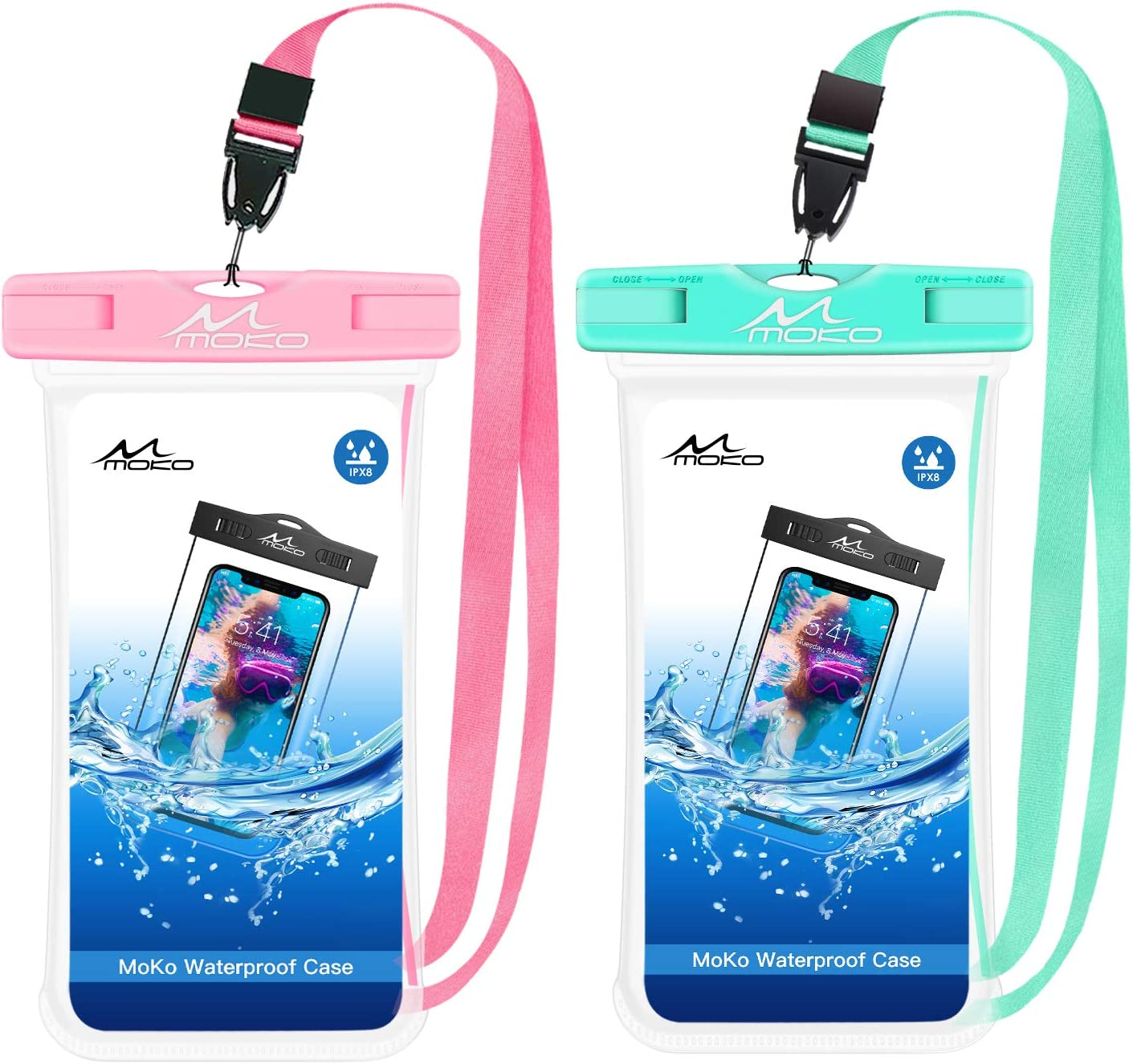 MoKo Waterproof Phone Pouch [2 Pack], Underwater Phone Case Dry Bag with Lanyard Compatible with iPhone 13/13 Pro Max/iPhone 12/12 Pro Max/11 Pro Max, X/Xr/Xs Max 8, Samsung Note 10, S20/S21/S10/S9