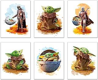 Baby Yoda Mandalorian Prints - Set of 6 (8 inches x 10 inches) Wall Art Decor Poster Photos - Star Wars TV Series Pedro Pa...
