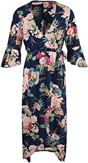 MagiDeal Womens Casual Floral 3/4 Sleeve Deep V Neck Side High Split Maxi Long Dress