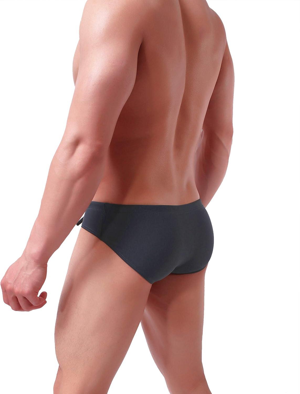 Brave Person Mens Fashion Low-Rise Swimming Briefs Pure Color Bikini Swimwear 1156