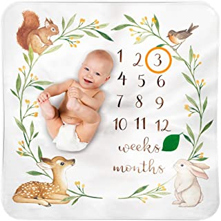 Baby Monthly Milestone Blanket Woodland - Baby Girl Gifts & Baby Boy Gifts - Watch Me Grow Woodland Nursery Décor - Europe...