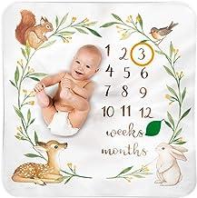 BUBZI CO Manta Bebé de Hitos Mensuales | Decoración manta fotografía bebé Bosque Colorido | 120 x 120 cm | Ideal regalos para mamas embarazadas y regalo baby shower | Neutro | Fondo fotográfico