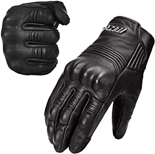 ILM Goatskin Leather Motorcycle Motorbike Powersports Racing Gloves Touchscreen For Men and Women Black (L, Black Unperforated)