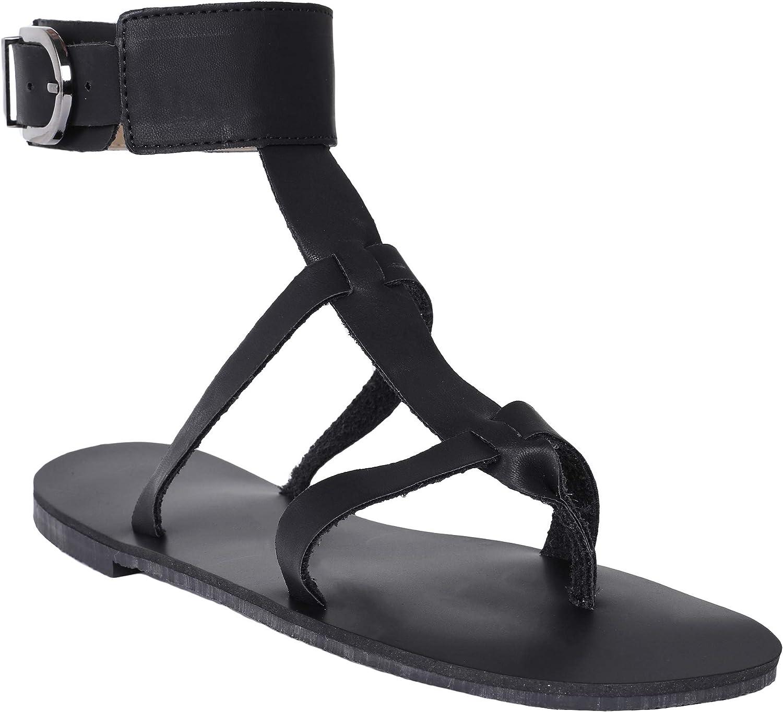 Syktkmx Womens Thong Flat Strappy Roman Gladiator Sandals