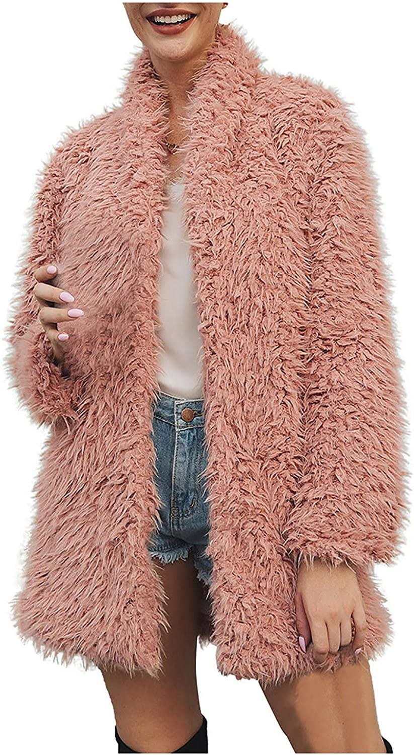 Smileyth Womens Faux Plush Coat - Casual Solid Long Sleeve Lapel Open Front Cardigan Warm Jacket Outerwear