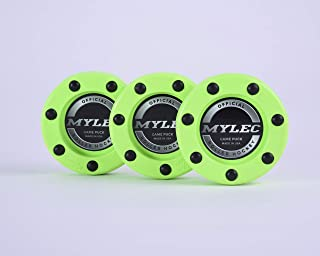 Mylec Official Roller Hockey Game Puck, 212G, Safety Green