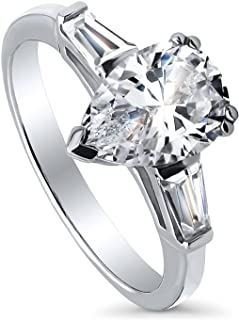 Rhodium Plated Sterling Silver Pear Cut Cubic Zirconia CZ 3-Stone Anniversary Promise Engagement Ring 2.3 CTW