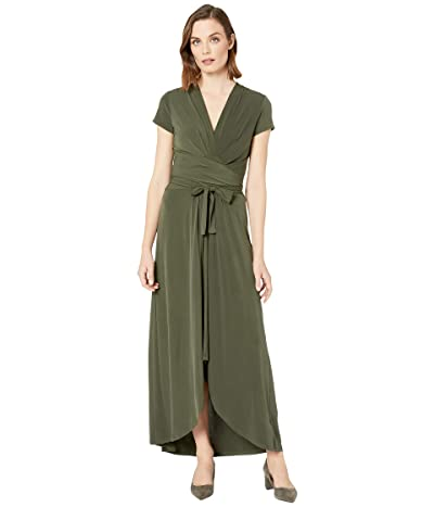 MICHAEL Michael Kors Cap Sleeve Maxi Wrap Dress (Ivy) Women