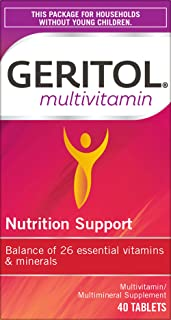 Geritol Multi-Vitamin Nutritional Support Tablets, 40 Count, Multivitamin/Multimineral Supplement for Adults, High in Vitamin A & Vitamin C