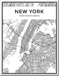 DINGDONGART Framed Canvas Wall Art New York Linear City Map Painting Nordic Minimalist Style Poster Aerial View Artwork Picture for Living Room Decor 1 Pcs