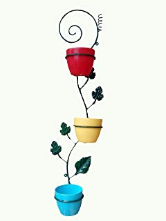 Vgreen Garden Store 3 Pot Wall Hanging Metal Planter With Multi Color Pot