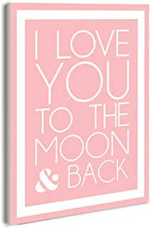The Kids Room by Stupell I Love You to The Moon and Back On Pink with White Border Rectangle Wall Plaque, 11 x 0.5 x 15, Proudly Made in USA