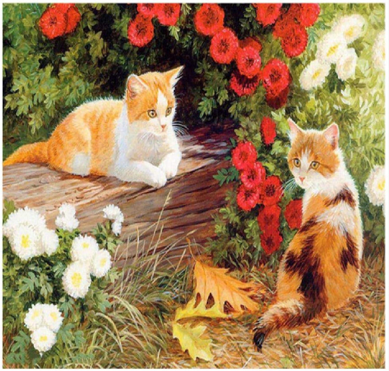 Kongjingjing Malen nach Zahlen für Erwachsene Kinder Kinder malen Malset für Kinder Zwei Katzen, 40x50cm Geburtstag Erwachsenen Geschenk Kinder zu Hause Handwerk