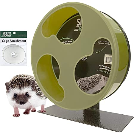 """Silent Runner 12"""" Wide + Cage Attachment - Silent, Fast, Durable Exercise Wheel - Sugar Gliders, Degus, Rats, Hedgehogs, Prairie Dogs & Small Pets"""