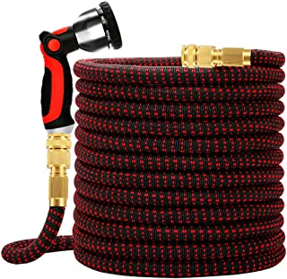 WORTH GARDEN 150FT Expandable Garden Hose, Durable Flexible Water Hose with 10 Function Spray Nozzle, Double Layers Latex ...