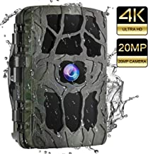 """UncleHu Trail Cameras, Hunting Camera 20MP 4K Full HD Game Camera with Night Vision Motion Activated Waterproof, Scouting Cam 2.4"""" LCD IR LEDs 120° Wide Angle, Loop Recording for Wildlife Animal"""