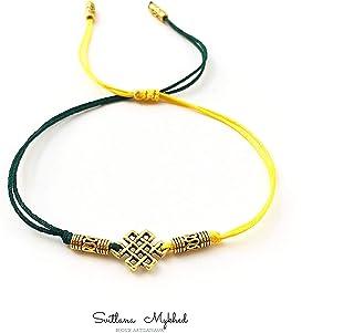 Bracciale con ciondolo fantasia in stile celtico MOTIVO CELTICO. INFINITO. ENIGMA; Perline di metallo tibetano. Cordoncino...