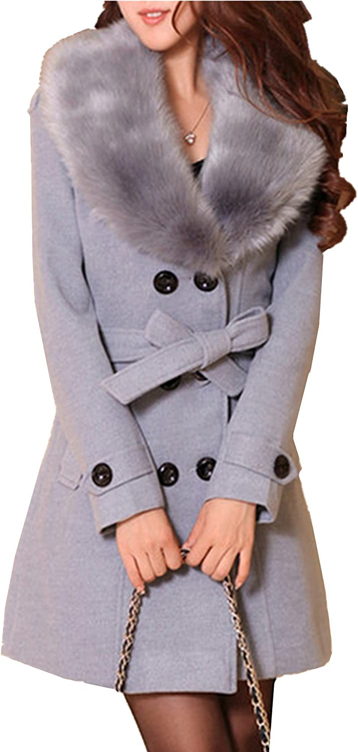 Allonly Women's Fashion Faux Fur Collar Button Closure Double Breasted Long Sleeves Coat Jacket