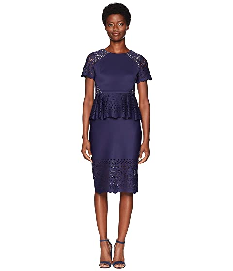 Marchesa Short Sleeve Laser Cut Scuba Cocktail Dress
