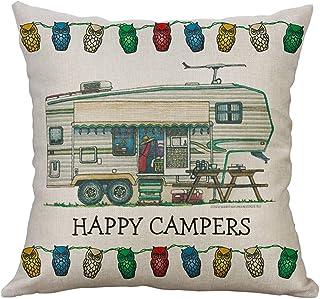 Rusaly Funda Cojin 40x40 Algodón Lino, Decoración del Hogar, Tema de Happy Campers, Almohada Caso Decorativo Cojines para Sofá Silla (E)