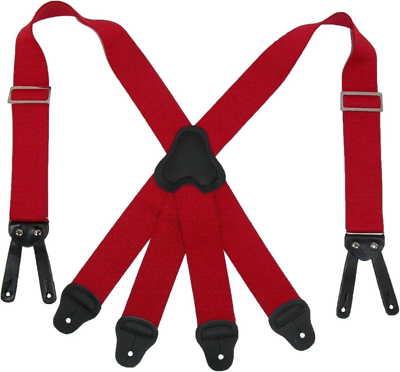 1 Pcs Men's Elastic Button-End 2 Inch Fireman Suspenders (color Red)
