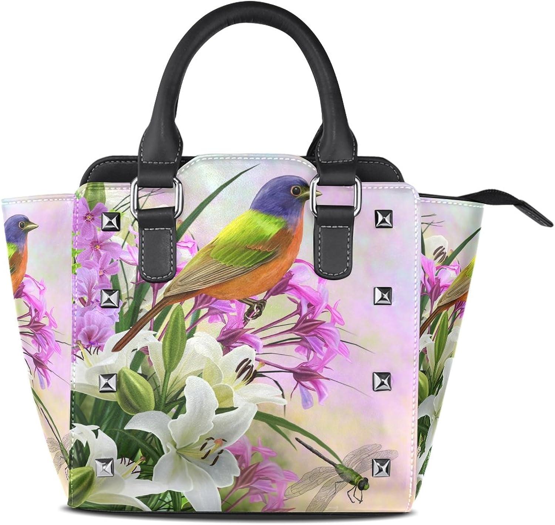 Women's Top Handle Satchel Handbag Little Bird White Lilies Pink Flowers Ladies PU Leather Shoulder Bag Crossbody Bag