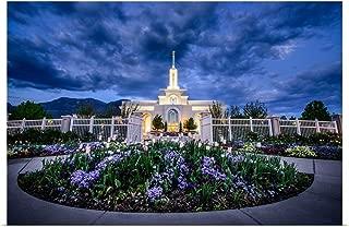 Great Big Canvas Poster Print Entitled Mount Timpanogos Utah Temple with Flowers, American Fork, Utah by Scott Jarvie 36