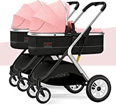KAMWD 2 Double Stroller for Toddlers Pushchair, Lightweight Foldable & Compact Tandem Strollers All-Terrain Splittable Bab...