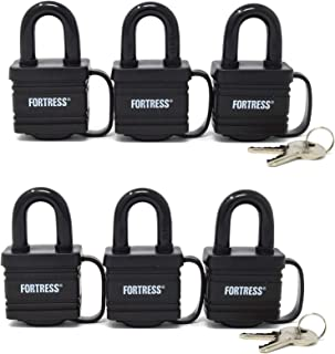 Master Lock 1804TRI Fortress Series Covered Laminated Weatherproof Padlocks, 1-9/16-Inch, Pack of 6