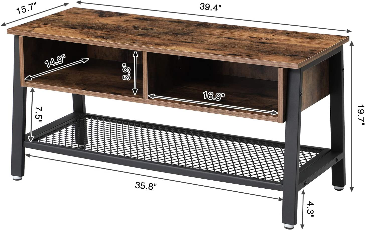 VASAGLE Vintage TV Stand, TV Cabinet with Net Storage Shelf, Console with 2 Storage Compartments, Easy Assembly ULTV92X: Furniture & Decor