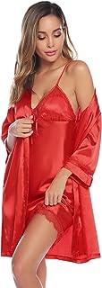 Batas Mujer Sexy Encaje Conjuntos,Pijama de Satén Camisón Seda Elegante Cortos para Mujer Novia Dama de Honor